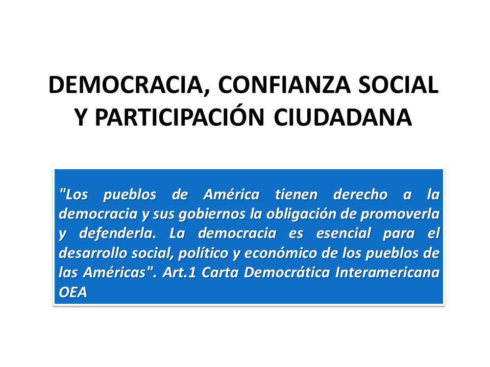 DEMOCRACIA, CONFIANZA SOCIAL Y PARTICIPACIÓN CIUDADANA