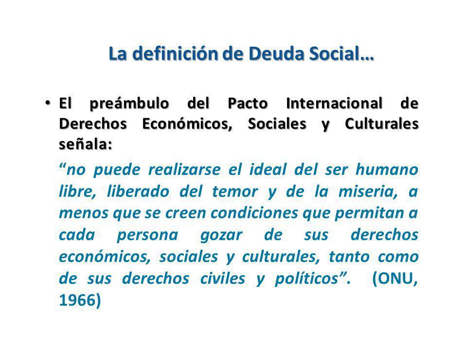 La definición de Deuda Social… El preámbulo del Pacto Internacional de Derechos Económicos, Sociales y Culturales señala: El preámbulo del Pacto Inter