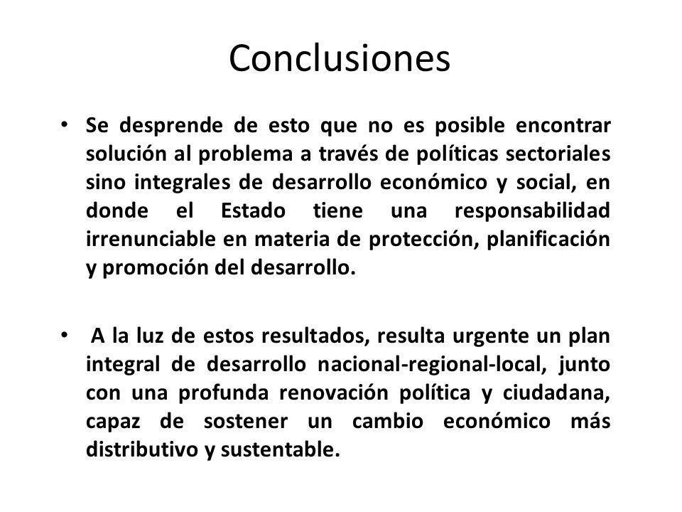 Conclusiones Se desprende de esto que no es posible encontrar solución al problema a través de políticas sectoriales sino integrales de desarrollo eco