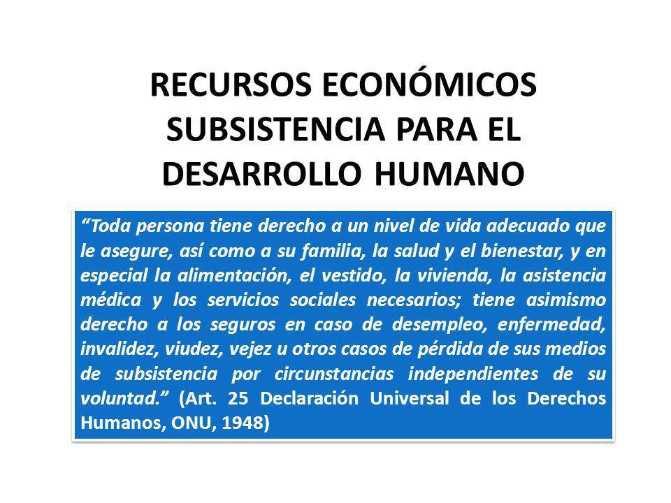 RECURSOS ECONÓMICOS SUBSISTENCIA PARA EL DESARROLLO HUMANO Toda persona tiene derecho a un nivel de vida adecuado que le asegure, así como a su famili
