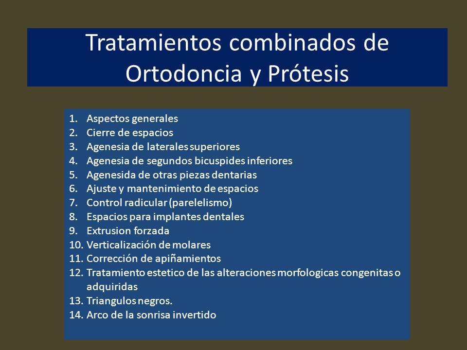 Tratamientos combinados de Ortodoncia y Prótesis 1.Aspectos generales 2.Cierre de espacios 3.Agenesia de laterales superiores 4.Agenesia de segundos b