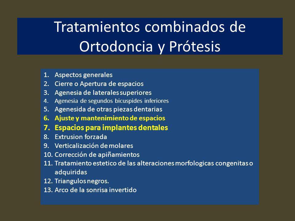 Tratamientos combinados de Ortodoncia y Prótesis 1.Aspectos generales 2.Cierre o Apertura de espacios 3.Agenesia de laterales superiores 4.Agenesia de