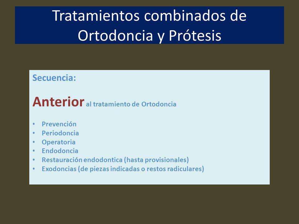 Secuencia: Anterior al tratamiento de Ortodoncia Prevención Periodoncia Operatoria Endodoncia Restauración endodontica (hasta provisionales) Exodoncia
