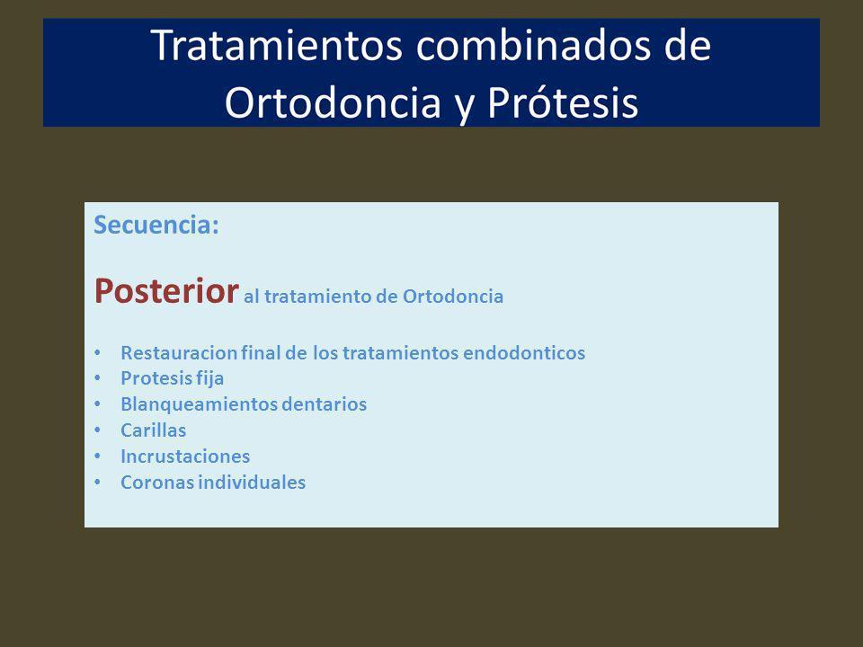 Secuencia: Posterior al tratamiento de Ortodoncia Restauracion final de los tratamientos endodonticos Protesis fija Blanqueamientos dentarios Carillas