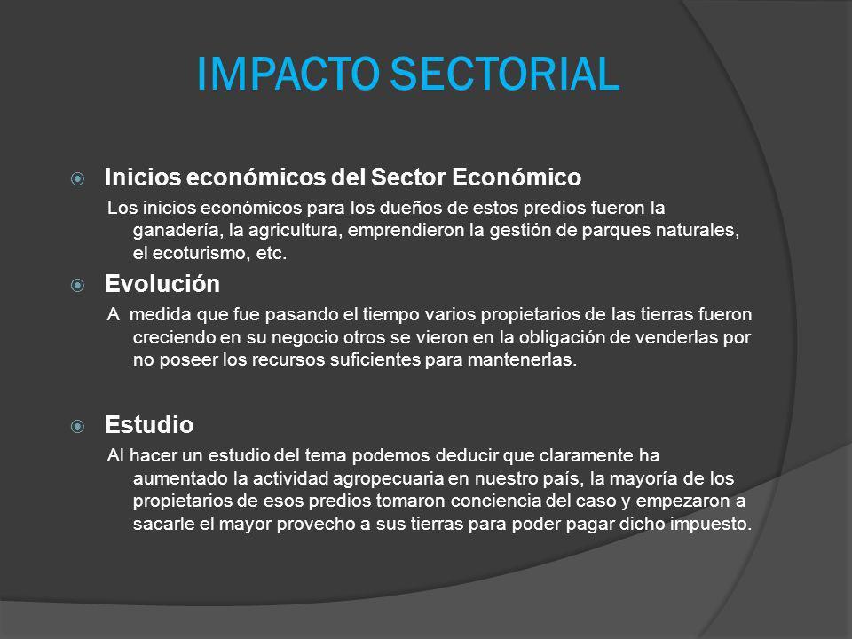 IMPACTO SECTORIAL Inicios económicos del Sector Económico Los inicios económicos para los dueños de estos predios fueron la ganadería, la agricultura,