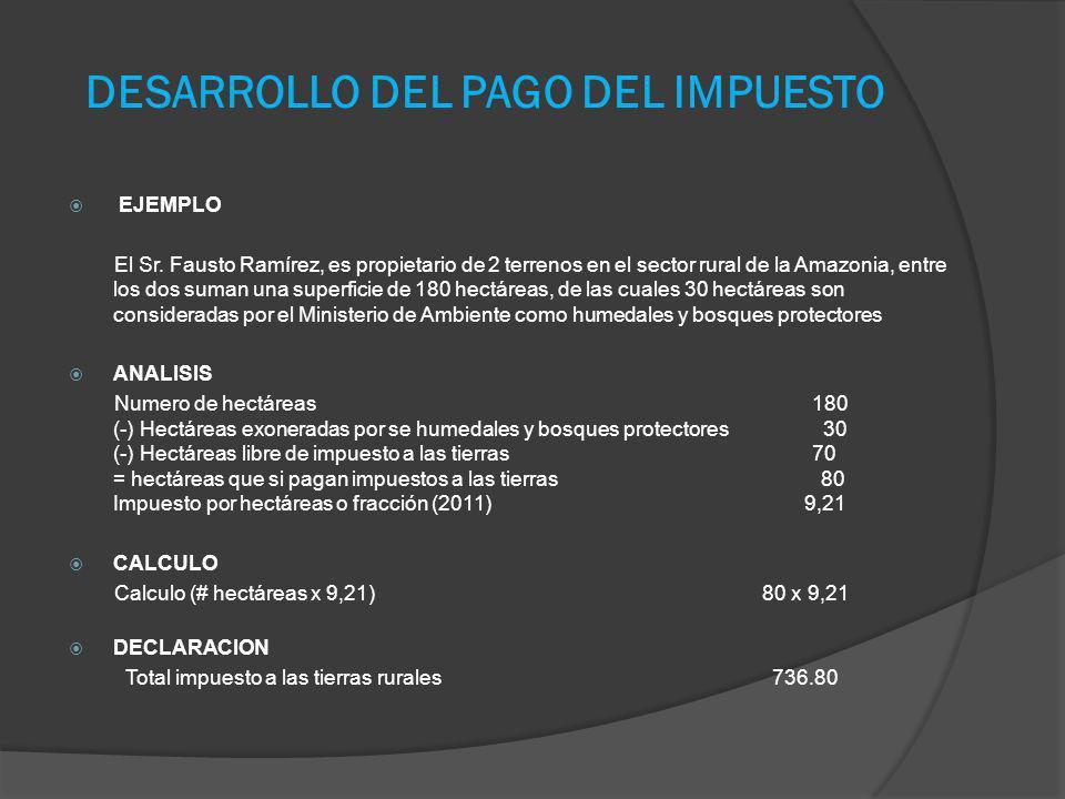 DESARROLLO DEL PAGO DEL IMPUESTO EJEMPLO El Sr. Fausto Ramírez, es propietario de 2 terrenos en el sector rural de la Amazonia, entre los dos suman un