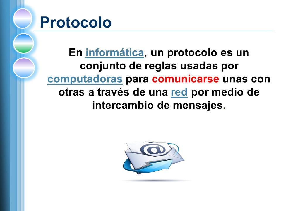 Protocolo En informática, un protocolo es un conjunto de reglas usadas por computadoras para comunicarse unas con otras a través de una red por medio de intercambio de mensajes.informática computadorasred