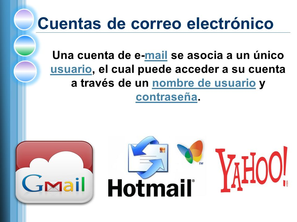 Cuentas de correo electrónico Una cuenta de e-mail se asocia a un único usuario, el cual puede acceder a su cuenta a través de un nombre de usuario y contraseña.mail usuarionombre de usuario contraseña