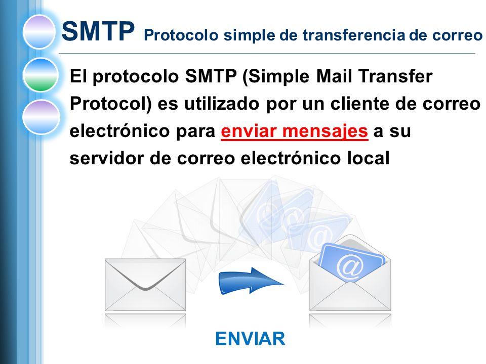 El protocolo SMTP (Simple Mail Transfer Protocol) es utilizado por un cliente de correo electrónico para enviar mensajes a su servidor de correo electrónico local SMTP Protocolo simple de transferencia de correo ENVIAR