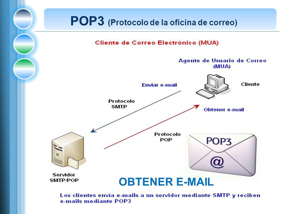 Post Office Protocol (POP3), (Protocolo de la oficina de correo) está diseñado para recibir correo, no para enviarlo, descargar su correo electrónico mientras tienen conexión y revisarlo posteriormente incluso estando desconectados.