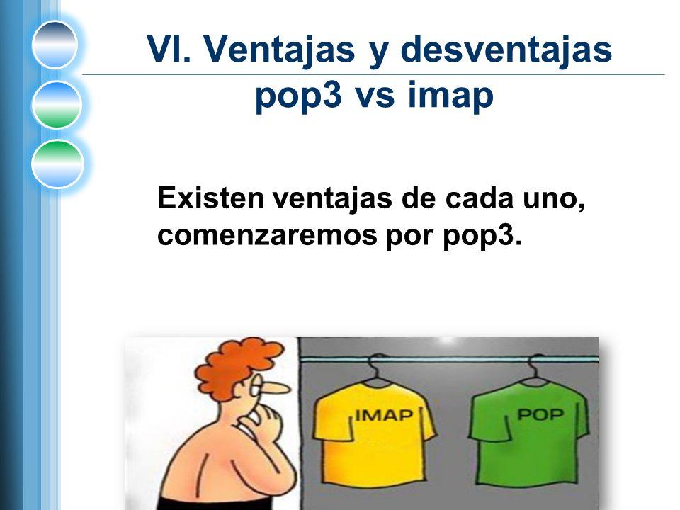VI. Ventajas y desventajas pop3 vs imap Existen ventajas de cada uno, comenzaremos por pop3.