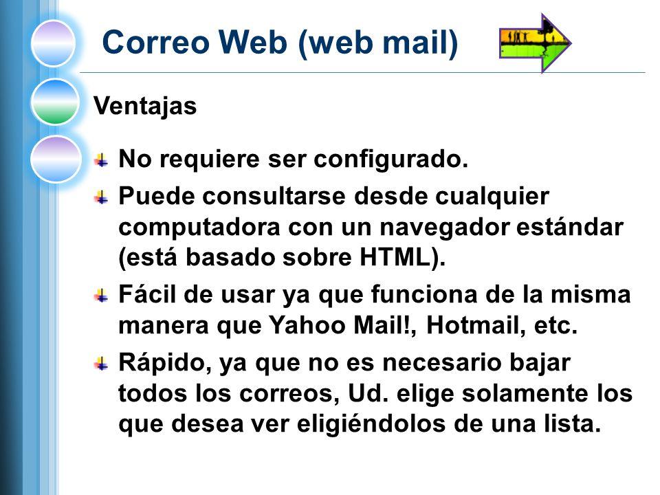 Correo Web (web mail) Ventajas No requiere ser configurado.