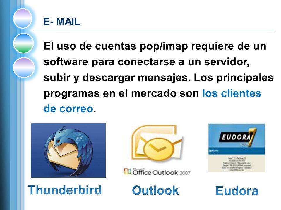 E- MAIL El uso de cuentas pop/imap requiere de un software para conectarse a un servidor, subir y descargar mensajes.