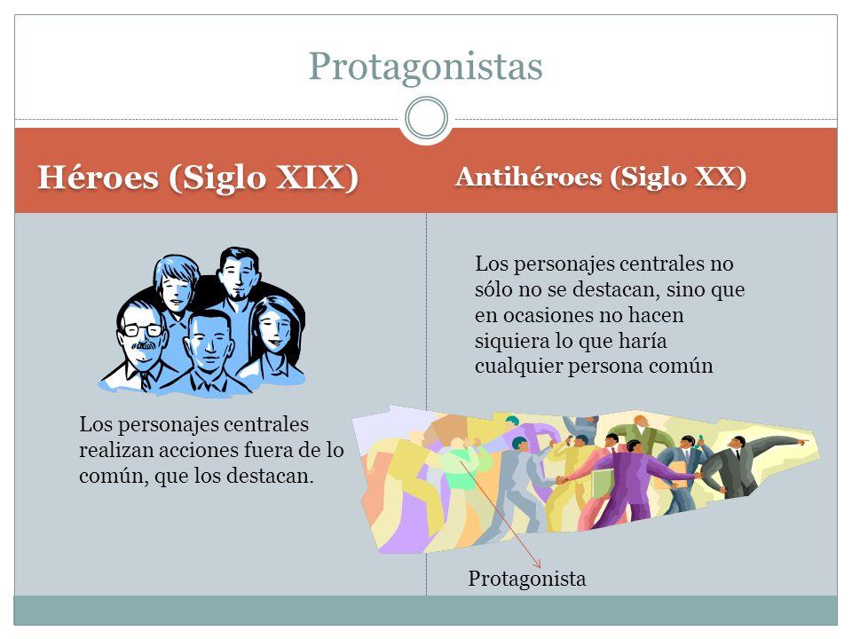 Héroes (Siglo XIX) Antihéroes (Siglo XX) Protagonistas Los personajes centrales realizan acciones fuera de lo común, que los destacan.