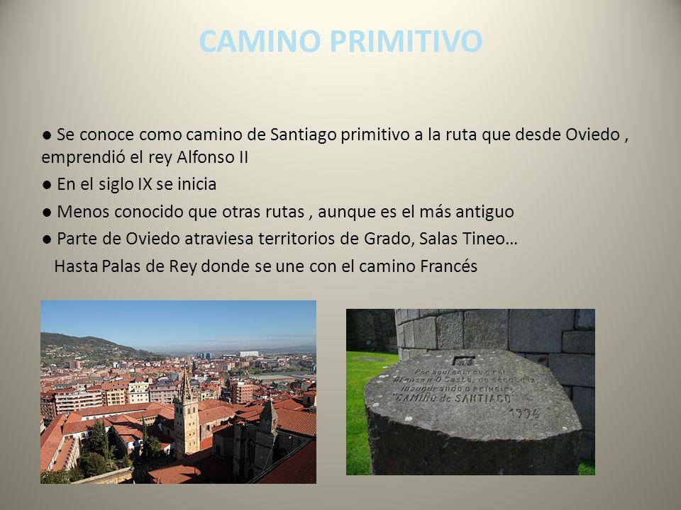 Se conoce como camino de Santiago primitivo a la ruta que desde Oviedo, emprendió el rey Alfonso II En el siglo IX se inicia Menos conocido que otras