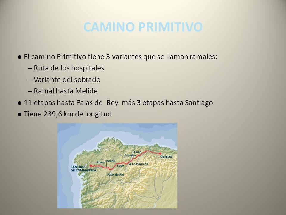 CAMINO PRIMITIVO El camino Primitivo tiene 3 variantes que se llaman ramales: Ruta de los hospitales Variante del sobrado Ramal hasta Melide 11 etapas