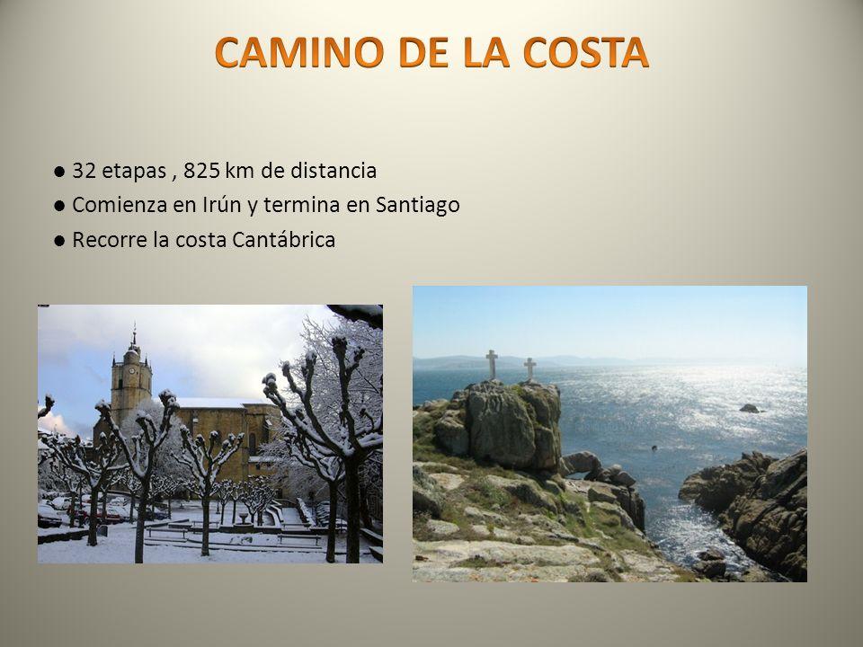 32 etapas, 825 km de distancia Comienza en Irún y termina en Santiago Recorre la costa Cantábrica