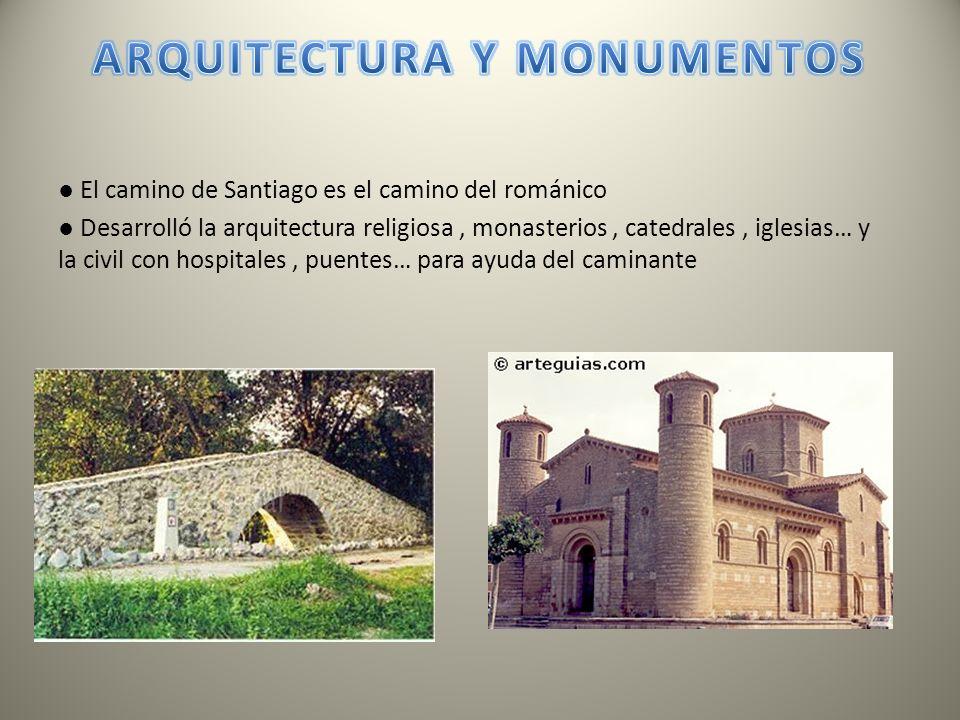 El camino de Santiago es el camino del románico Desarrolló la arquitectura religiosa, monasterios, catedrales, iglesias… y la civil con hospitales, pu