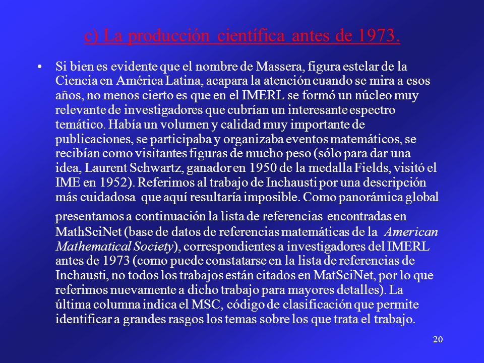 20 c) La producción científica antes de 1973. Si bien es evidente que el nombre de Massera, figura estelar de la Ciencia en América Latina, acapara la