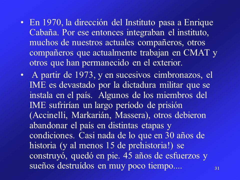 31 En 1970, la dirección del Instituto pasa a Enrique Cabaña. Por ese entonces integraban el instituto, muchos de nuestros actuales compañeros, otros