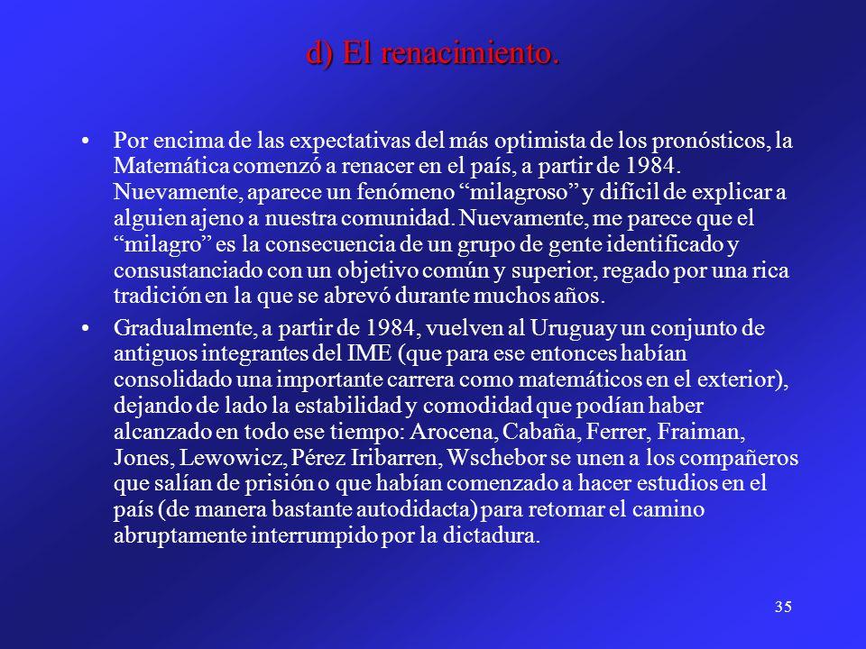 35 d) El renacimiento. Por encima de las expectativas del más optimista de los pronósticos, la Matemática comenzó a renacer en el país, a partir de 19