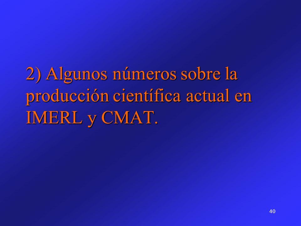 40 2) Algunos números sobre la producción científica actual en IMERL y CMAT.