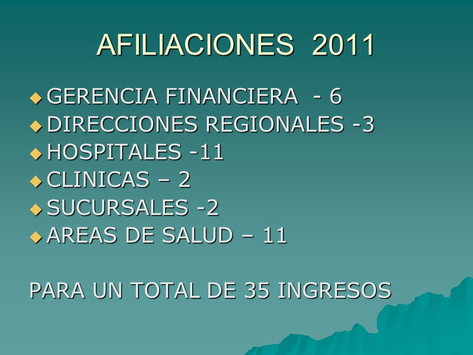 AFILIACIONES 2011 GERENCIA FINANCIERA - 6 GERENCIA FINANCIERA - 6 DIRECCIONES REGIONALES -3 DIRECCIONES REGIONALES -3 HOSPITALES -11 HOSPITALES -11 CL