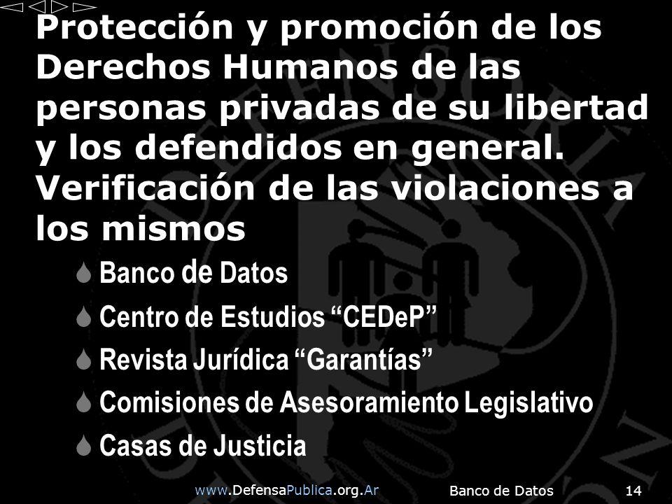 www.DefensaPublica.org.Ar Banco de Datos14 Protección y promoción de los Derechos Humanos de las personas privadas de su libertad y los defendidos en general.