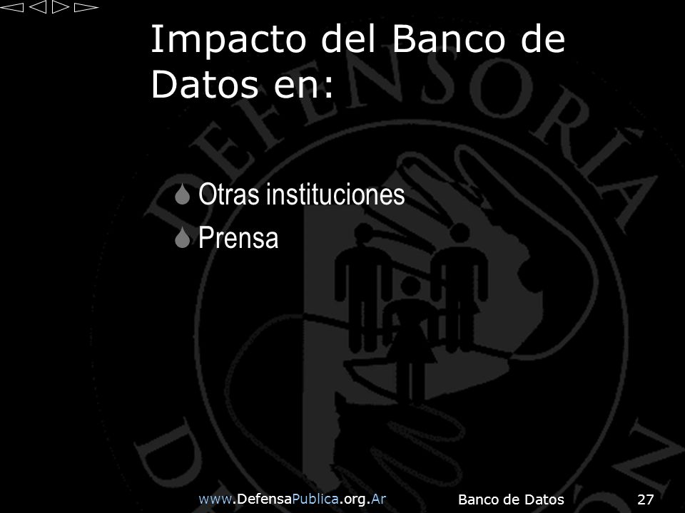 Banco de Datos27 Impacto del Banco de Datos en: Otras instituciones Prensa