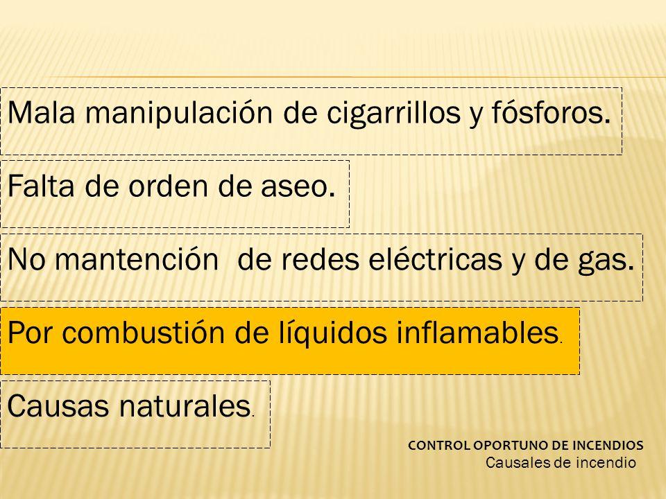 Causales de incendio CONTROL OPORTUNO DE INCENDIOS Mala manipulación de cigarrillos y fósforos. Falta de orden de aseo. No mantención de redes eléctri