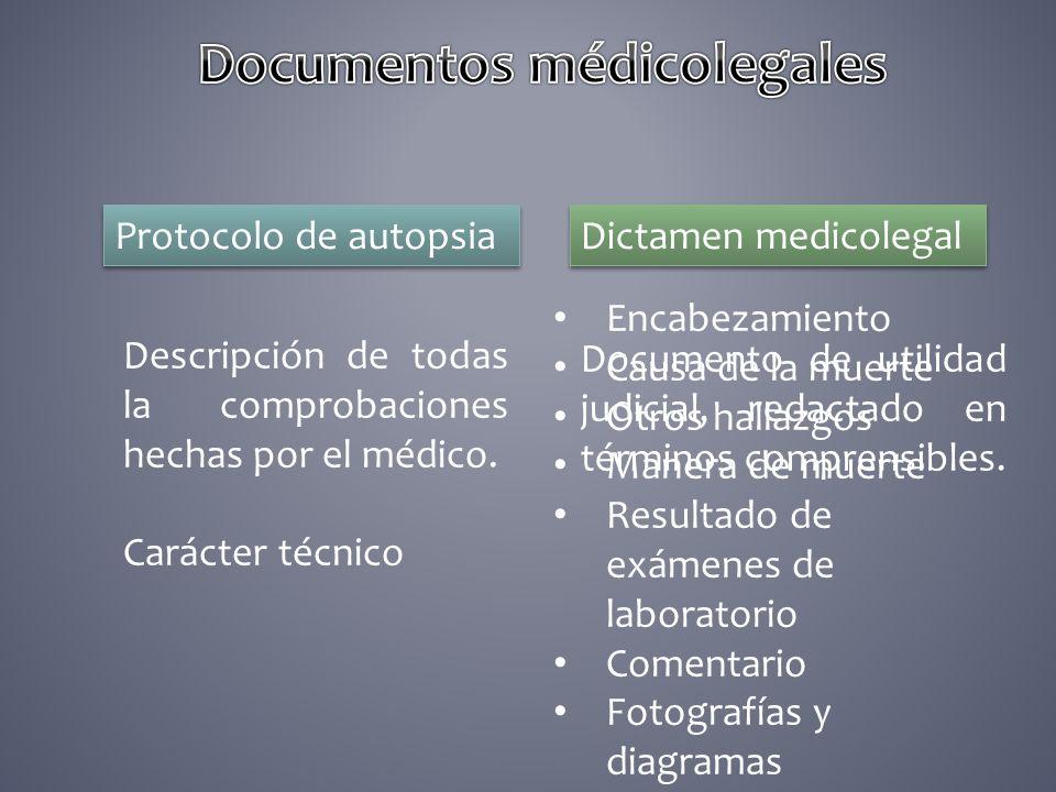 Protocolo de autopsia Dictamen medicolegal Descripción de todas la comprobaciones hechas por el médico. Carácter técnico Documento de utilidad judicia