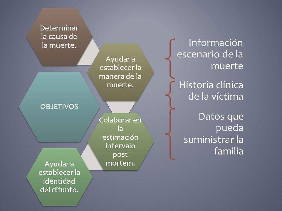 OBJETIVOS Determinar la causa de la muerte. Ayudar a establecer la manera de la muerte. Colaborar en la estimación intervalo post mortem. Ayudar a est