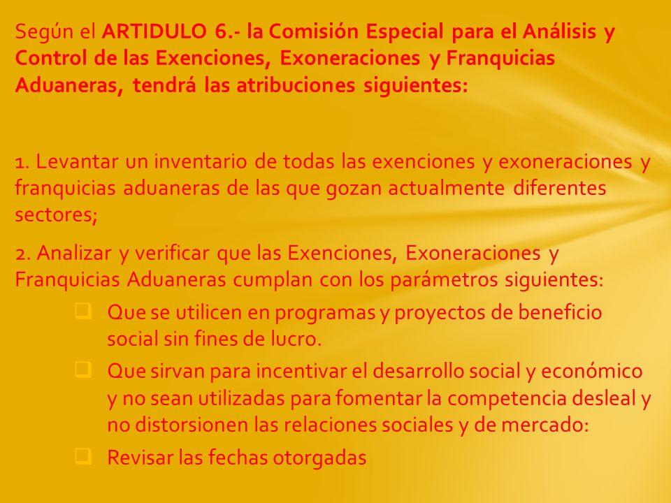 Según el ARTIDULO 6.- la Comisión Especial para el Análisis y Control de las Exenciones, Exoneraciones y Franquicias Aduaneras, tendrá las atribucione