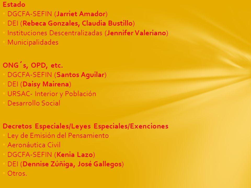 Estado DGCFA-SEFIN (Jarriet Amador) DEI (Rebeca Gonzales, Claudia Bustillo) Instituciones Descentralizadas (Jennifer Valeriano) Municipalidades ONG´s,