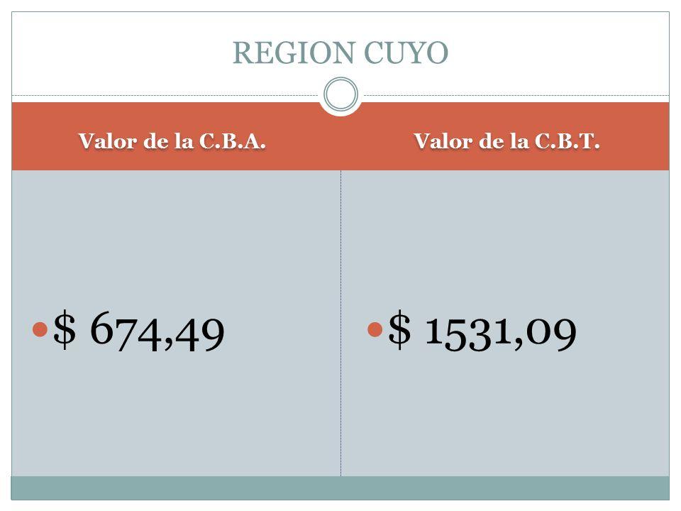 Valor de la C.B.A. Valor de la C.B.T. $ 674,49 $ 1531,09 REGION CUYO