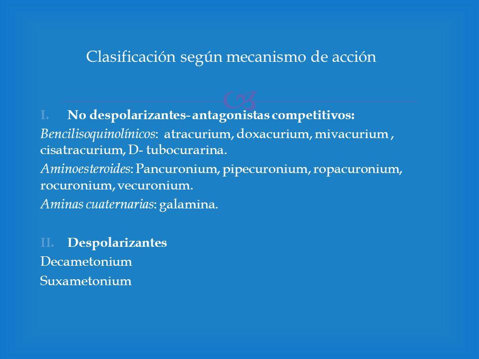 I.No despolarizantes- antagonistas competitivos: Bencilisoquinolínicos : atracurium, doxacurium, mivacurium, cisatracurium, D- tubocurarina. Aminoeste