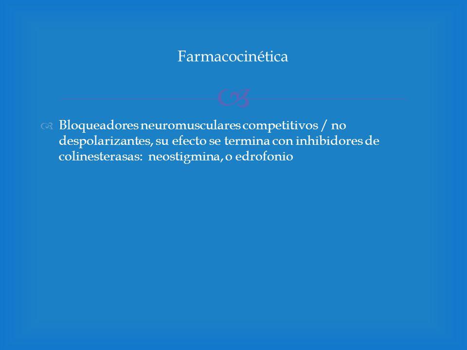 Bloqueadores neuromusculares competitivos / no despolarizantes, su efecto se termina con inhibidores de colinesterasas: neostigmina, o edrofonio Farma