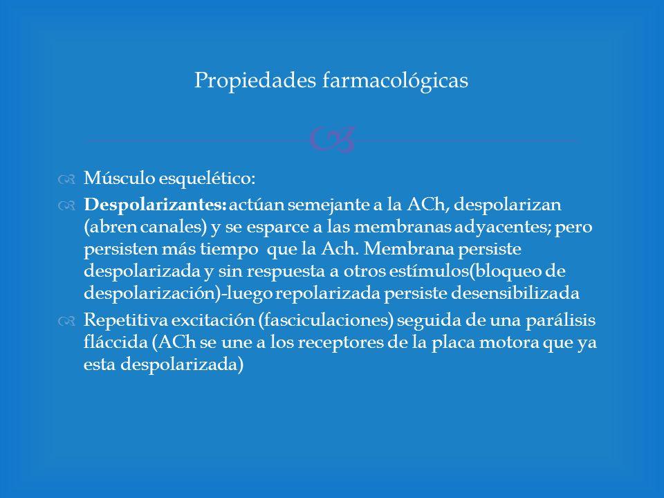 Músculo esquelético: Despolarizantes: actúan semejante a la ACh, despolarizan (abren canales) y se esparce a las membranas adyacentes; pero persisten
