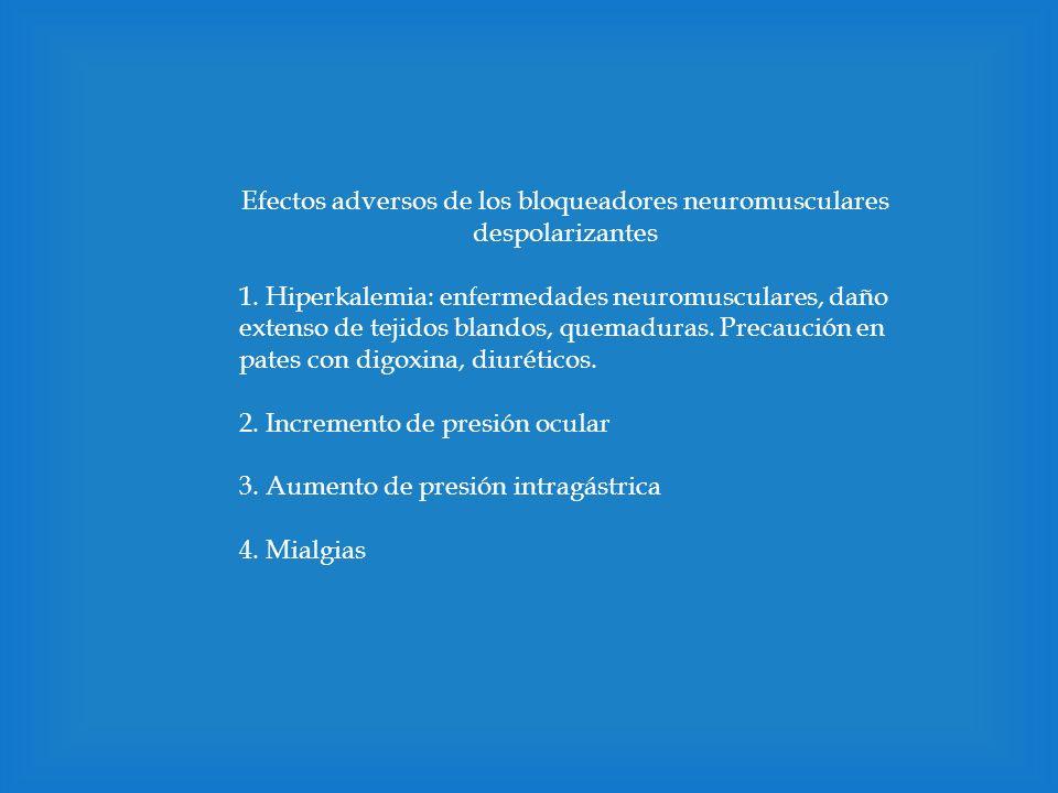 Efectos adversos de los bloqueadores neuromusculares despolarizantes 1. Hiperkalemia: enfermedades neuromusculares, daño extenso de tejidos blandos, q