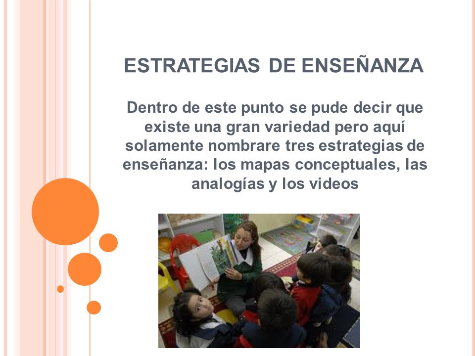 Dentro de este punto se pude decir que existe una gran variedad pero aquí solamente nombrare tres estrategias de enseñanza: los mapas conceptuales, las analogías y los videos
