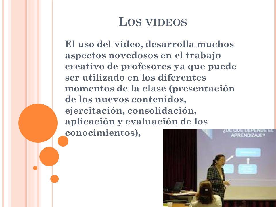 El uso del vídeo, desarrolla muchos aspectos novedosos en el trabajo creativo de profesores ya que puede ser utilizado en los diferentes momentos de la clase (presentación de los nuevos contenidos, ejercitación, consolidación, aplicación y evaluación de los conocimientos), L OS VIDEOS