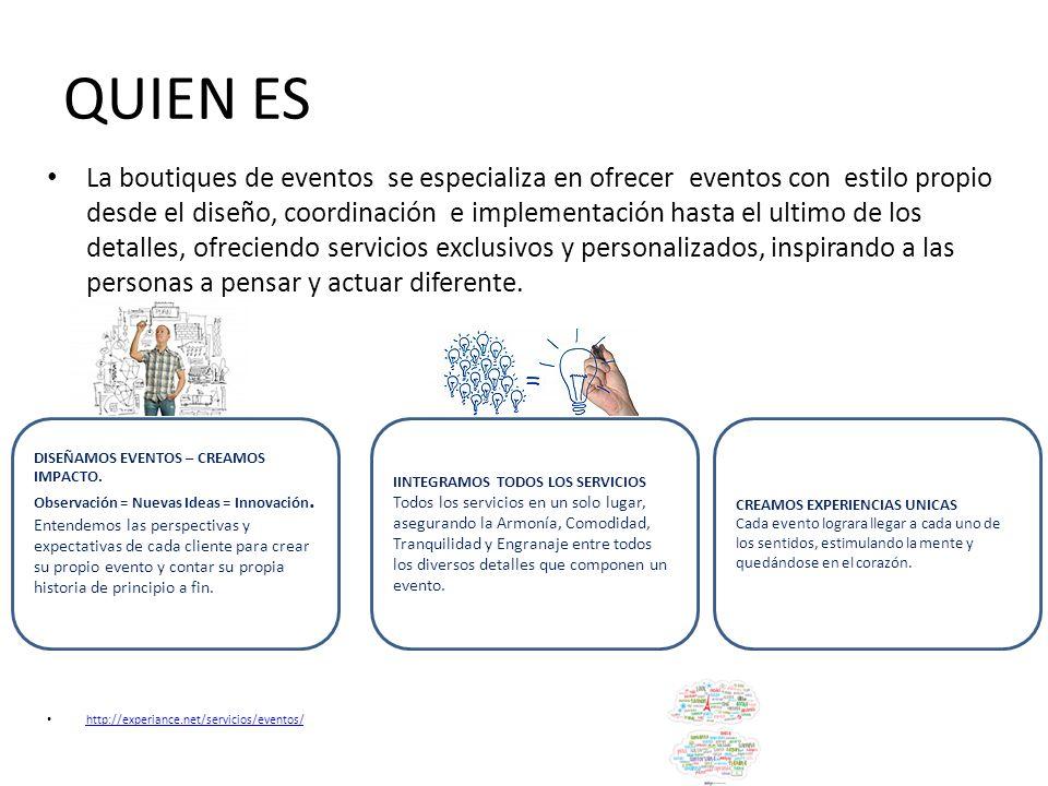 QUIEN ES La boutiques de eventos se especializa en ofrecer eventos con estilo propio desde el diseño, coordinación e implementación hasta el ultimo de