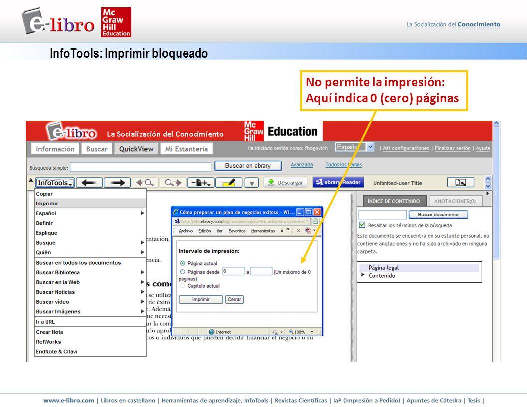 InfoTools: Imprimir bloqueado No permite la impresión: Aquí indica 0 (cero) páginas