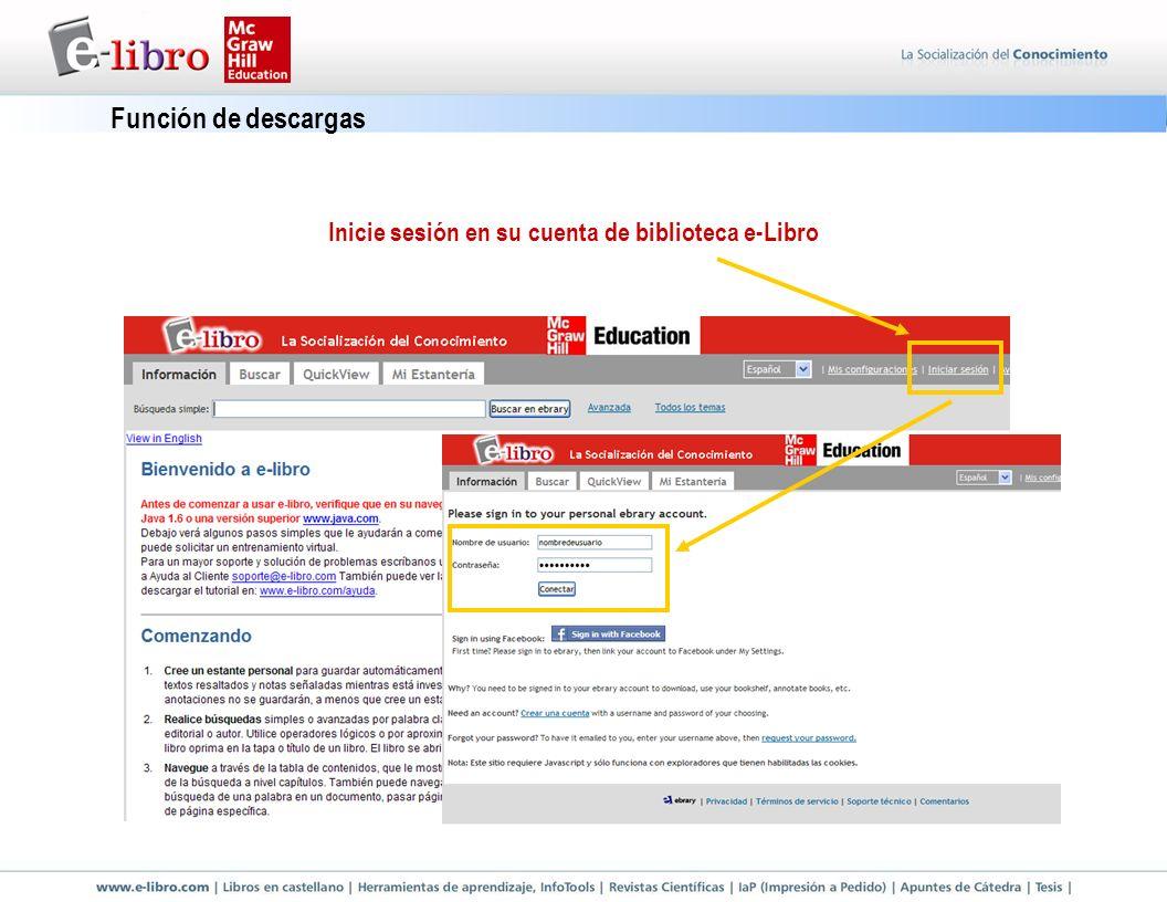Función de descargas Inicie sesión en su cuenta de biblioteca e-Libro
