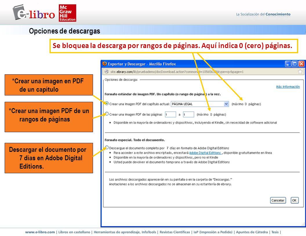 Opciones de descargas *Crear una imagen en PDF de un capítulo *Crear una imagen PDF de un rangos de páginas Descargar el documento por 7 días en Adobe