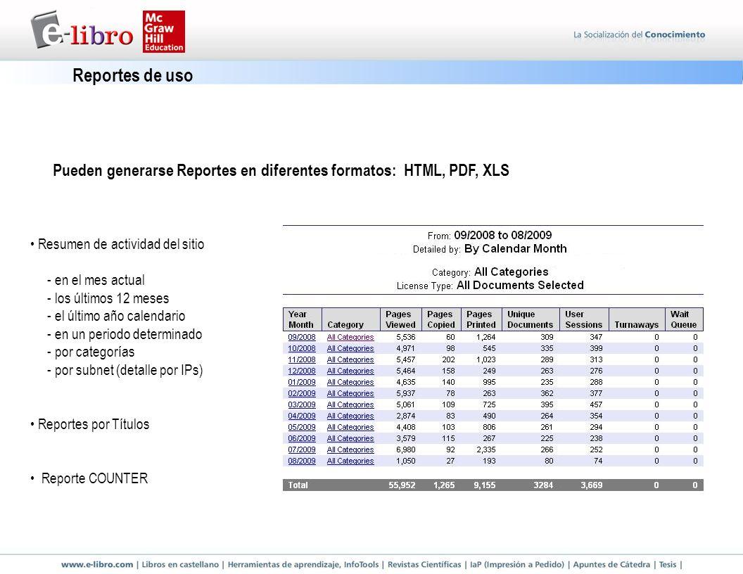 Resumen de actividad del sitio - en el mes actual - los últimos 12 meses - el último año calendario - en un periodo determinado - por categorías - por subnet (detalle por IPs) Reportes por Títulos Reporte COUNTER Pueden generarse Reportes en diferentes formatos: HTML, PDF, XLS Reportes de uso
