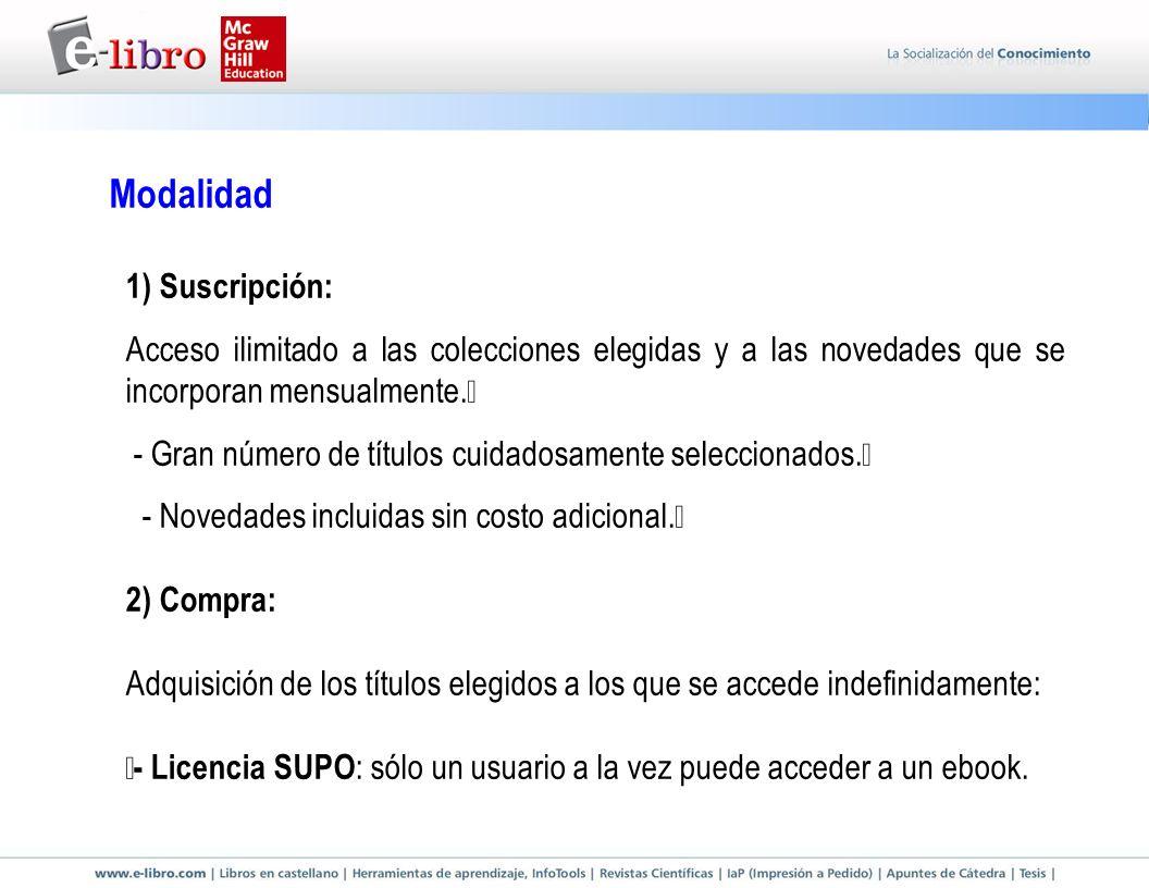 Modalidad 1) Suscripción: Acceso ilimitado a las colecciones elegidas y a las novedades que se incorporan mensualmente.