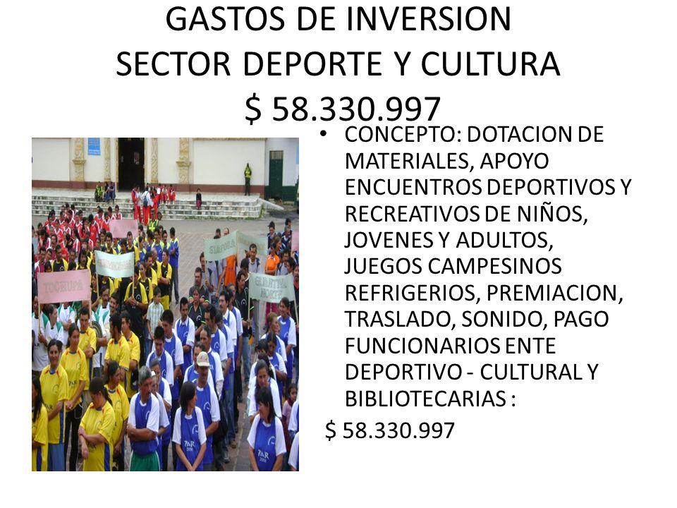 GASTOS DE INVERSION SECTOR DEPORTE Y CULTURA $ 58.330.997 CONCEPTO: DOTACION DE MATERIALES, APOYO ENCUENTROS DEPORTIVOS Y RECREATIVOS DE NIÑOS, JOVENES Y ADULTOS, JUEGOS CAMPESINOS REFRIGERIOS, PREMIACION, TRASLADO, SONIDO, PAGO FUNCIONARIOS ENTE DEPORTIVO - CULTURAL Y BIBLIOTECARIAS : $ 58.330.997