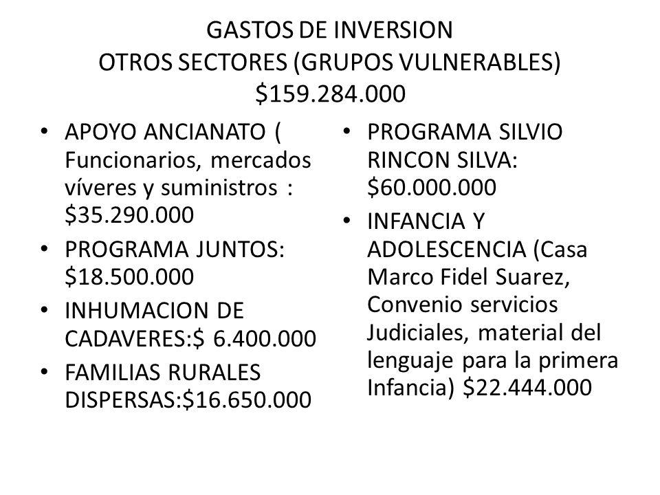 GASTOS DE INVERSION OTROS SECTORES (GRUPOS VULNERABLES) $159.284.000 APOYO ANCIANATO ( Funcionarios, mercados víveres y suministros : $35.290.000 PROG