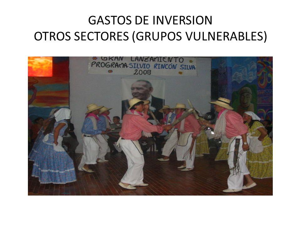 GASTOS DE INVERSION OTROS SECTORES (GRUPOS VULNERABLES)
